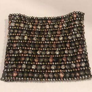 Beaded stretch bracelet copper and silver